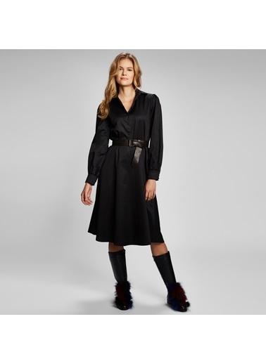 Vekem-Limited Edition Uzun Kollu Gömlek Yaka Midi Boy Elbise Siyah